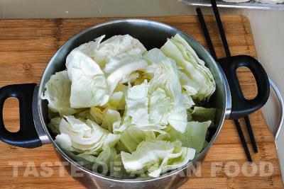 Cabbage stir-fry - cut cabbage