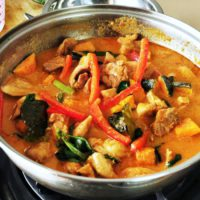 Thai red chicken curry is the best Thai curry, season with kaffir lime and fish sauce to get the authentic flavor. The curry paste is made from scratch.