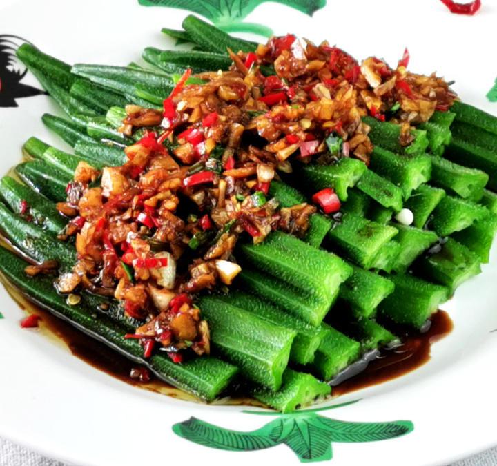 Chinese okra recipe- How to prepare with garlic chili sauce